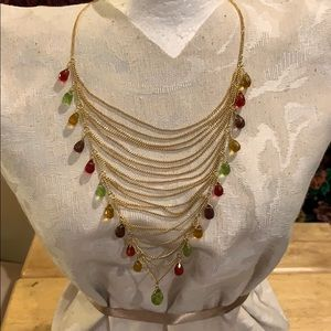 Jewelry - Gold plated multi strand, colored crystal Necklace
